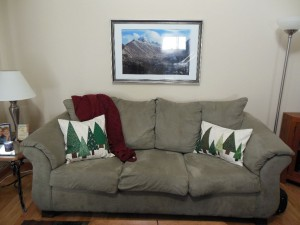 Tree pillows on couch