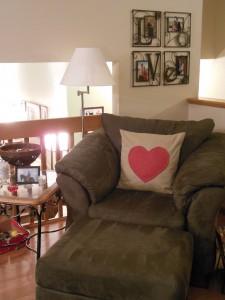 Heart Pillow in chair