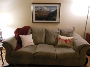 Valentine's Day Pillows on couch