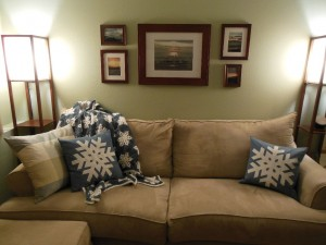 Snowflake pillows on couch