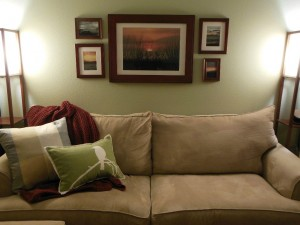 Regular pillows on couch - family room
