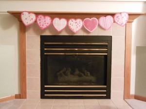 Heart garland on mantel