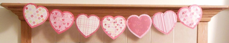 Heart garland on mantel - banner