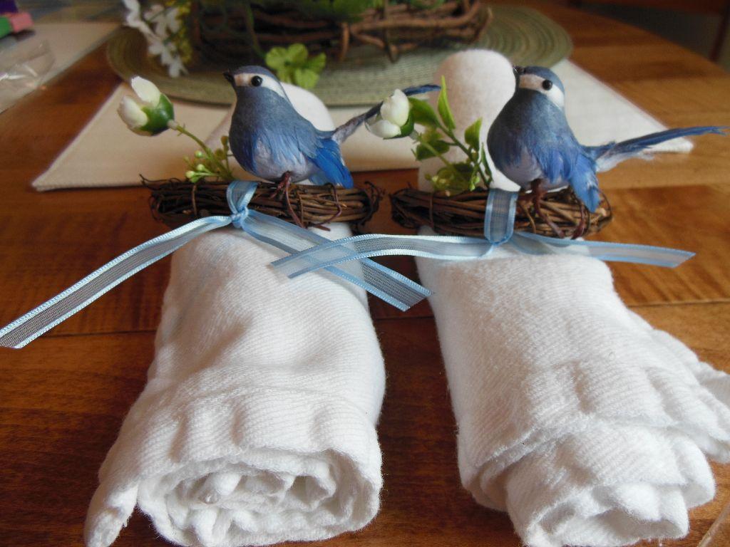 Bird napkin rings - side by side