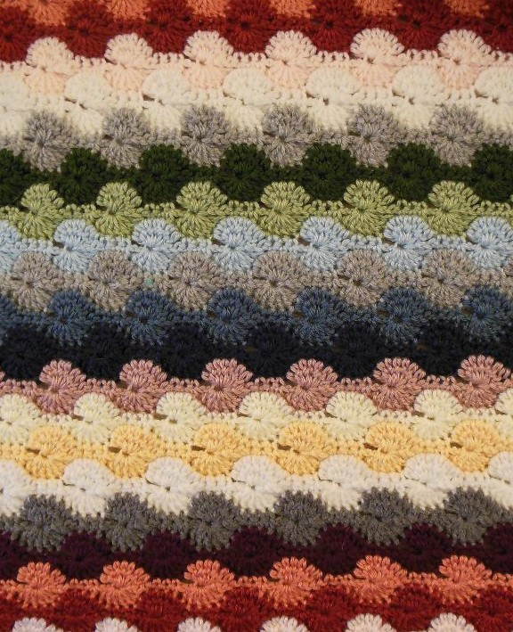 Colorful striped afghan - close up