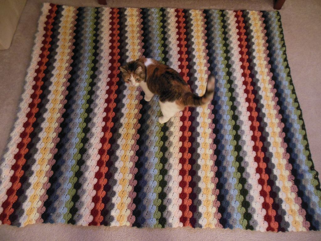 Colorful striped afghan - with Kiki