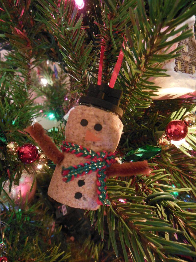 Christmas decorations cork - Champagne Cork Snowman