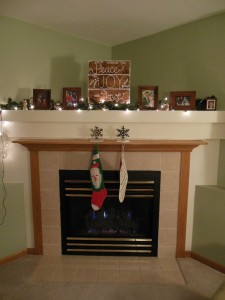 Christmas sign on mantel
