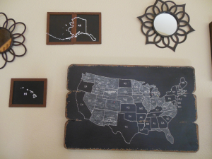 US chalkboard map